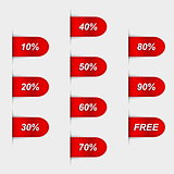 Set of glossy red sales labels. Vector illustration
