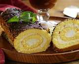 vanilla roll cake with chocolate