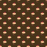 Seamless vector pattern, texture or background with sweet muffin cupcakes on chocolate dark brown background