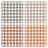 Houndstooth vector seamless pattern or brown background set