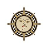 Sun and moon face traditional oriental india vector sign
