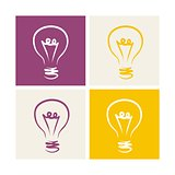 Light bulb vector icon symbol on colorful backgrounds