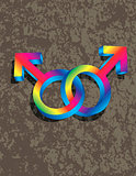 Male Gay Gender 3D Symbols Interlocking Illustration