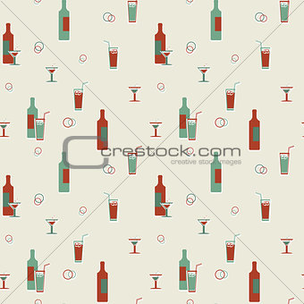 Alcoholic beverages vector seamless vintage pattern