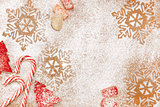 Christmas candy and sweet background with snowflakes and trees