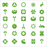 Set of 30  green icons and graphics