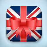 Gift Icon Flag of Great Britain with bow and strip.