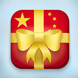 Gift Icon Flag of China with bow and strip.