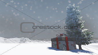 Gift box in snowy
