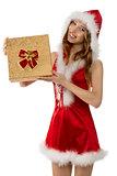 smiling christmas girl with gift box