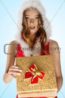 sexy christmas girl opening gift box