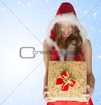 happy sexy christmas girl holding gift box