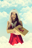 christmas pin-up girl with gift box