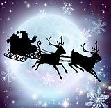 Santa moon sleigh silhouette