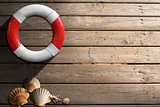 Life Buoy on Wooden Wall with Seashells