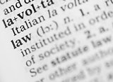Macro image of dictionary definition of law