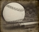 Retro vintage grungle stlye image of baseball and glove with age