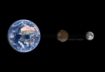 Callisto and Earth and the Moon