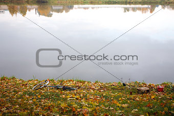 Autumn fishing and landscape with a river