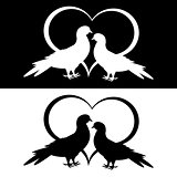 Monochrome silhouette of two doves and a heart