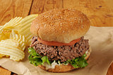 Thick juicy hamburger