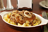 Salisbury steak on noodles