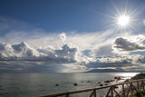 Sun and clouds in the bay of Malaga