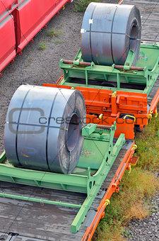 Cargo train platform with role steel