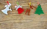 Christmas decoration on wooden board