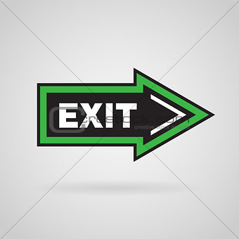 Green and black colored arrow with exit message. Vector Background