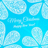 Merry Christmas and Happy New Year. Vector doodle twirls background