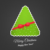 Paper Christmas tree with bow and ribbon. Vector background