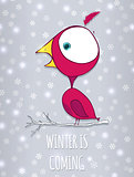 Bird sitting on branch. Winter background with snowflakes. Doodle vector Illustration