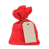 red santas bag from velvet fabric