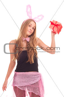 A girl dressed as a rabbit with gifts