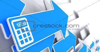 Calculator Icon on Blue Arrow.