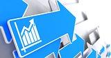 Growth Chart Icon on Blue Arrow.