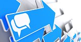 Speech Bubble Icon on Blue Arrow.