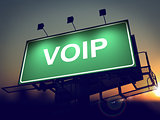VOIP - Billboard on the Sunrise Background.