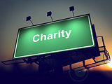 Charity - Billboard on the Sunrise Background.