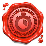 Time Economy - Stamp on Red Wax Seal.