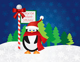 Penguin at Santa Stop Here Sign