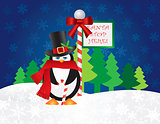Penguin Top Hat at Santa Stop Here Sign