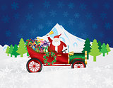 Santa Claus on Vintage Car with Presents Night Snow Scene