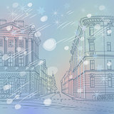 Vector winter Christmas Cityscape, the wide avenue in the city c