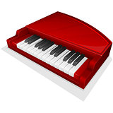 Vector icon. Small red piano
