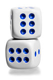 two white dice stand by each other on a white background