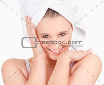 Beautiful Young Woman with Towel on her Head Smiling