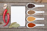 Colorful herbs and spices selection
