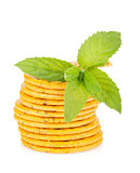 Stack of crackers with mint